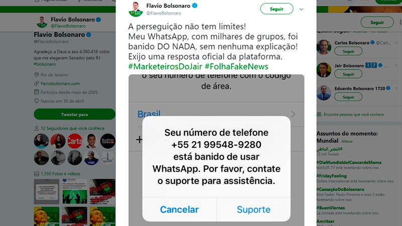 flavio - Após denúncias de fábrica de fake news, filho de Bolsonaro é banido do Whatsapp