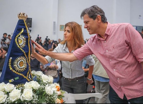 haddad2 - VEJA VÍDEO: Haddad vai à missa em homenagem à Nossa Senhora e reza 'Ave Maria'