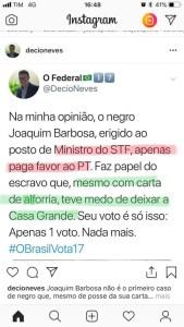 """instagram ataque 169x300 - Agente da PF da Paraíba critica """"negro"""" Joaquim Barbosa por apoio a Haddad"""