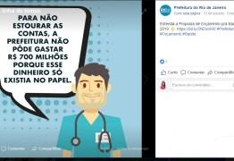 No Facebook, Prefeitura do Rio culpa vereadores por rombo na Saúde