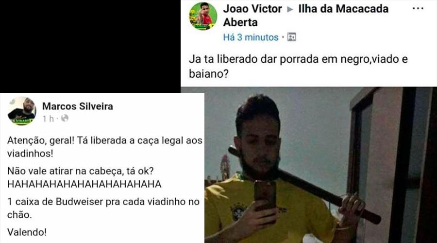 posts - Em posts racistas e homofóbicos, bolsonaristas comemoram vitória: 'Já está liberado dar porrada em negro, viado e baiano?'