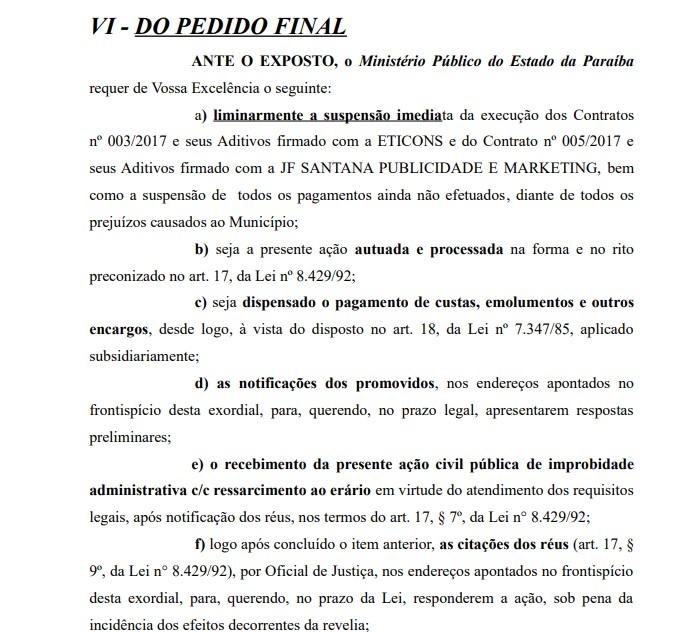 Processo Noquinha2 - MPPB pede a condenação de Noquinha por irregularidades em contratos de publicidade na Câmara Municipal de Bayeux