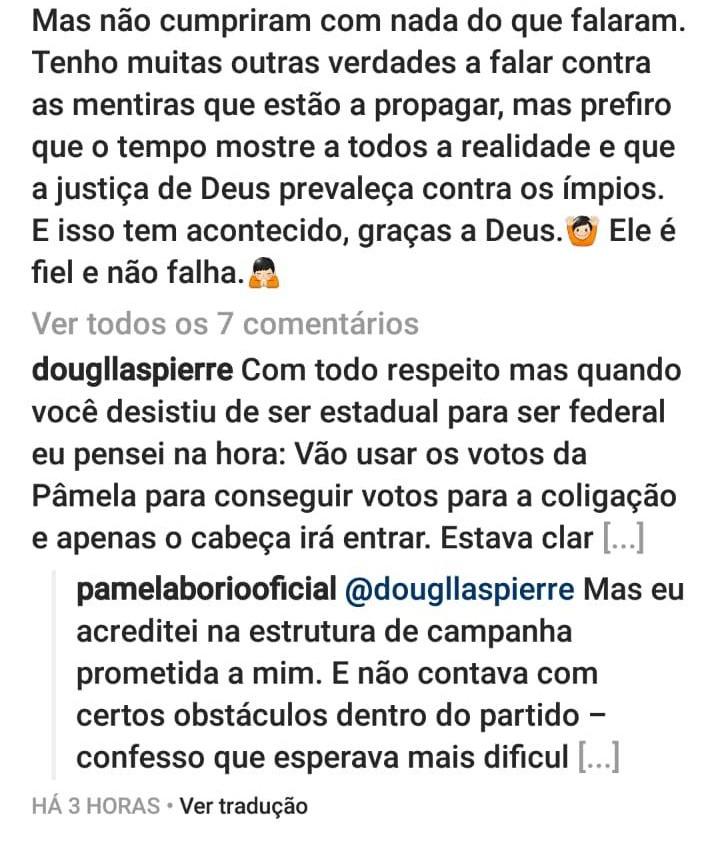 WhatsApp Image 2018 11 11 at 16.12.06 - 'MENTIROSOS SEM CARÁTER E SEM ESCRÚPULOS': Pâmela Bório reclama da direção do PSL e compara gastos de sua campanha com doações para Jullian Lemos