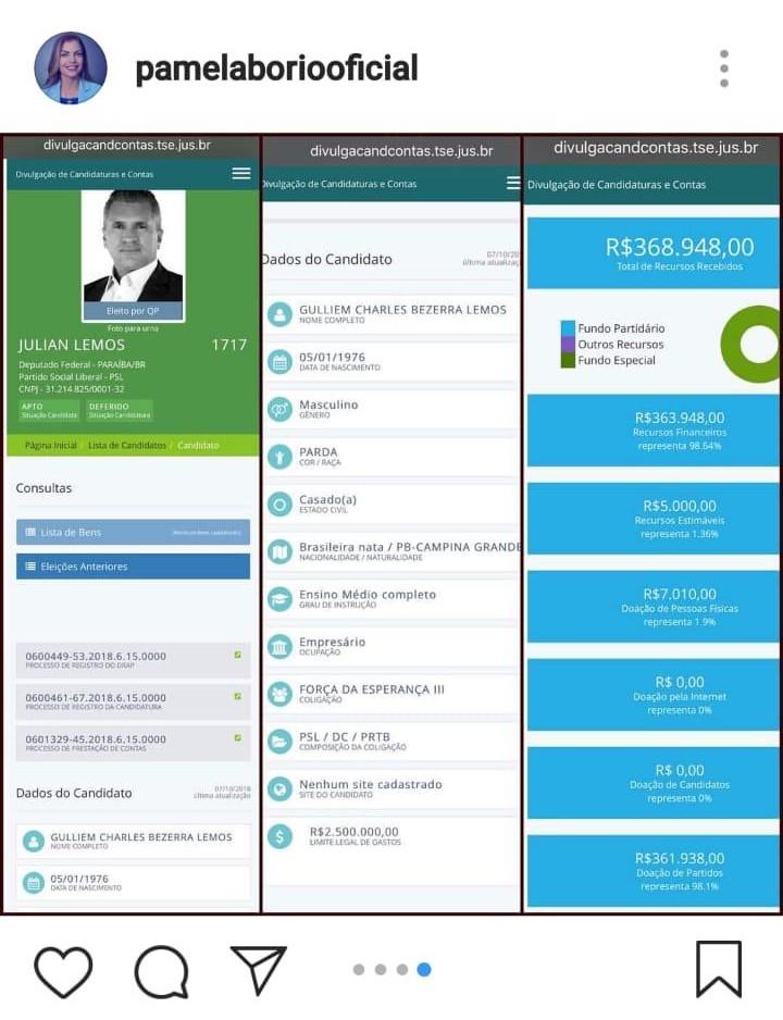 WhatsApp Image 2018 11 11 at 16.16.22 - 'MENTIROSOS SEM CARÁTER E SEM ESCRÚPULOS': Pâmela Bório reclama da direção do PSL e compara gastos de sua campanha com doações para Jullian Lemos
