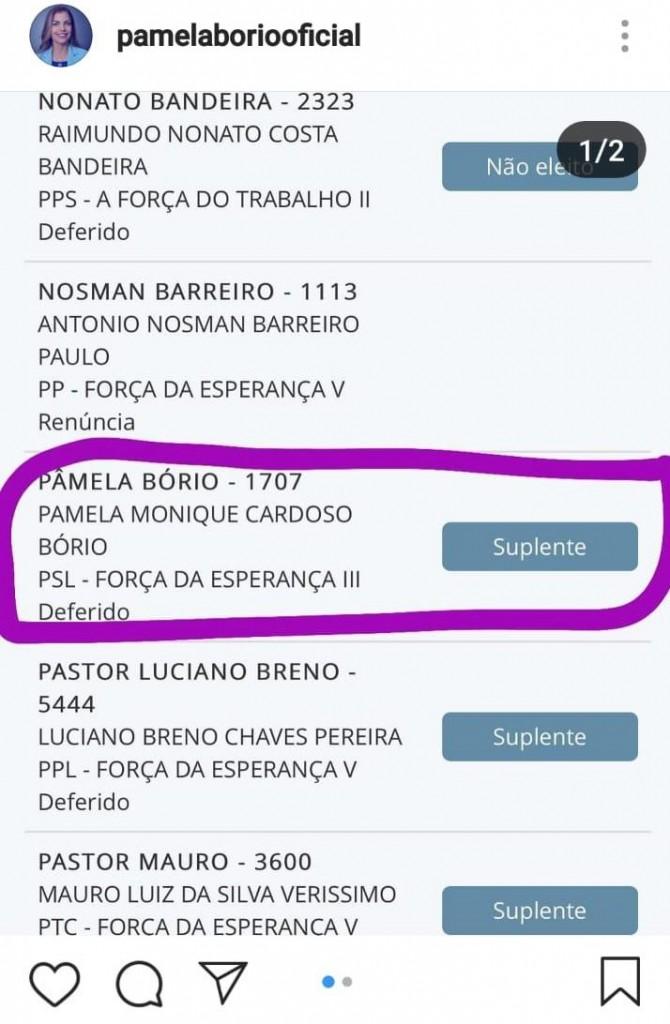 WhatsApp Image 2018 11 11 at 16.22.41 - 'MENTIROSOS SEM CARÁTER E SEM ESCRÚPULOS': Pâmela Bório reclama da direção do PSL e compara gastos de sua campanha com doações para Jullian Lemos