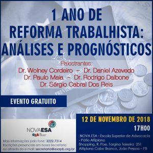 evento esa 300x300 - ESA promove palestra gratuita sobre análises do primeiro aniversário da reforma trabalhista