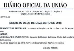 Temer nomeia Carlos Marún para o conselho de Itaipu