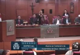 VEJA VÍDEO: vereadores da Capital realizam Sessão Especial para homenagear Centenário da Assembleia de Deus na Paraíba