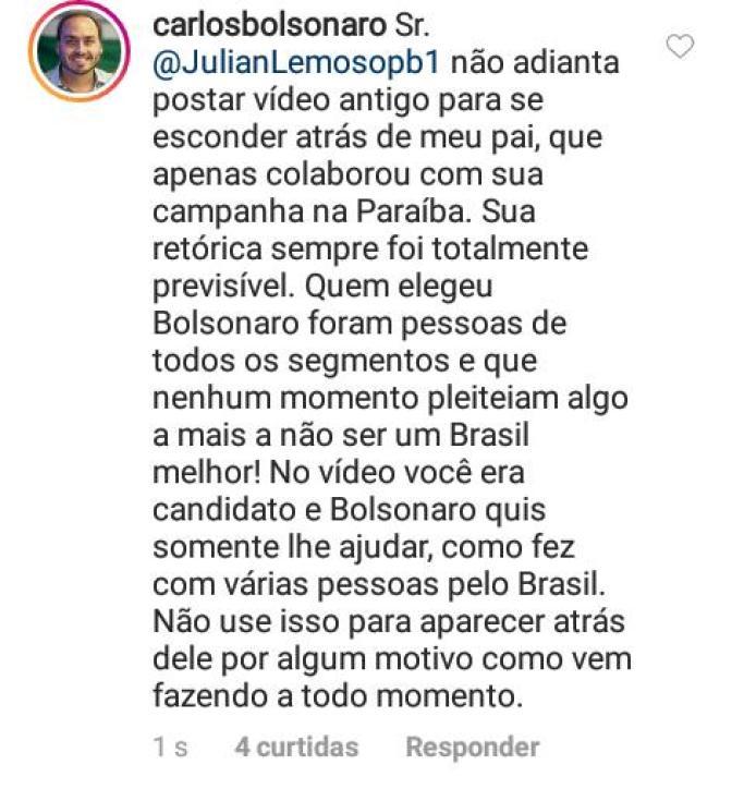 WhatsApp Image 2018 12 05 at 20.56.56 283x300 - Carlos Bolsonaro comenta publicação de Julian Lemos: 'Não adianta postar vídeo antigo para se esconder atrás do meu pai'