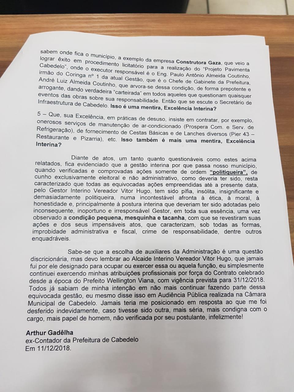 WhatsApp Image 2018 12 11 at 21.28.39 1 - 'Inconsequente, inoportuno e irresponsável gestor': contador da prefeitura de Cabedelo denuncia ação de intimidação tomada por Vitor Hugo