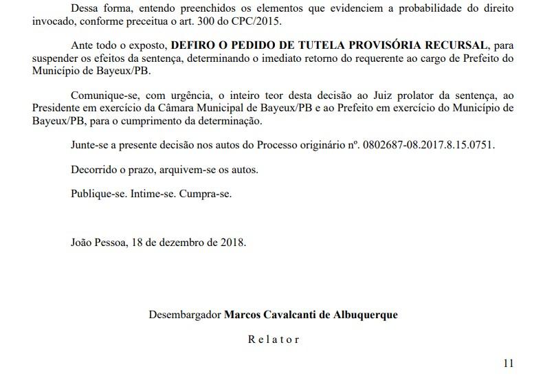 defesa berg lima - Exclusivo: Em decisão liminar, TJPB decide que Berg Lima deve retornar ao cargo de prefeito de Bayeux imediatamente; LEIA A DECISÃO