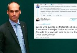 Eduardo Bolsonaro critica Enem e toma invertida: 'Flávio tinha 4 laranjas. Carlos escondeu uma. Onde está Queiroz?'
