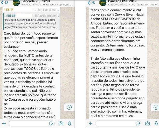 p4 - Aliados de Bolsonaro protagonizam 'barraco' em grupo de WhatsApp, confira prints da  discussão vazada por Joice Hasselmann