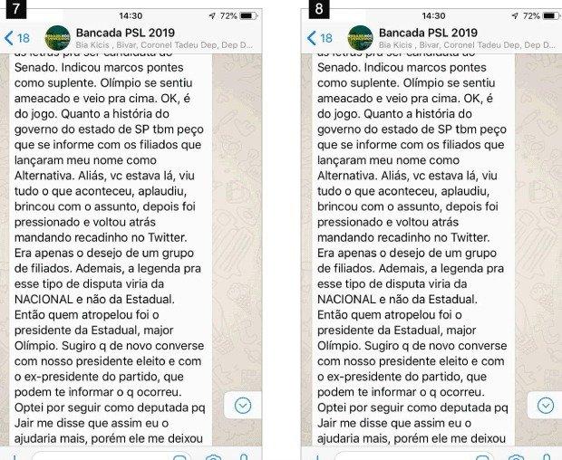 p5 - Aliados de Bolsonaro protagonizam 'barraco' em grupo de WhatsApp, confira prints da  discussão vazada por Joice Hasselmann