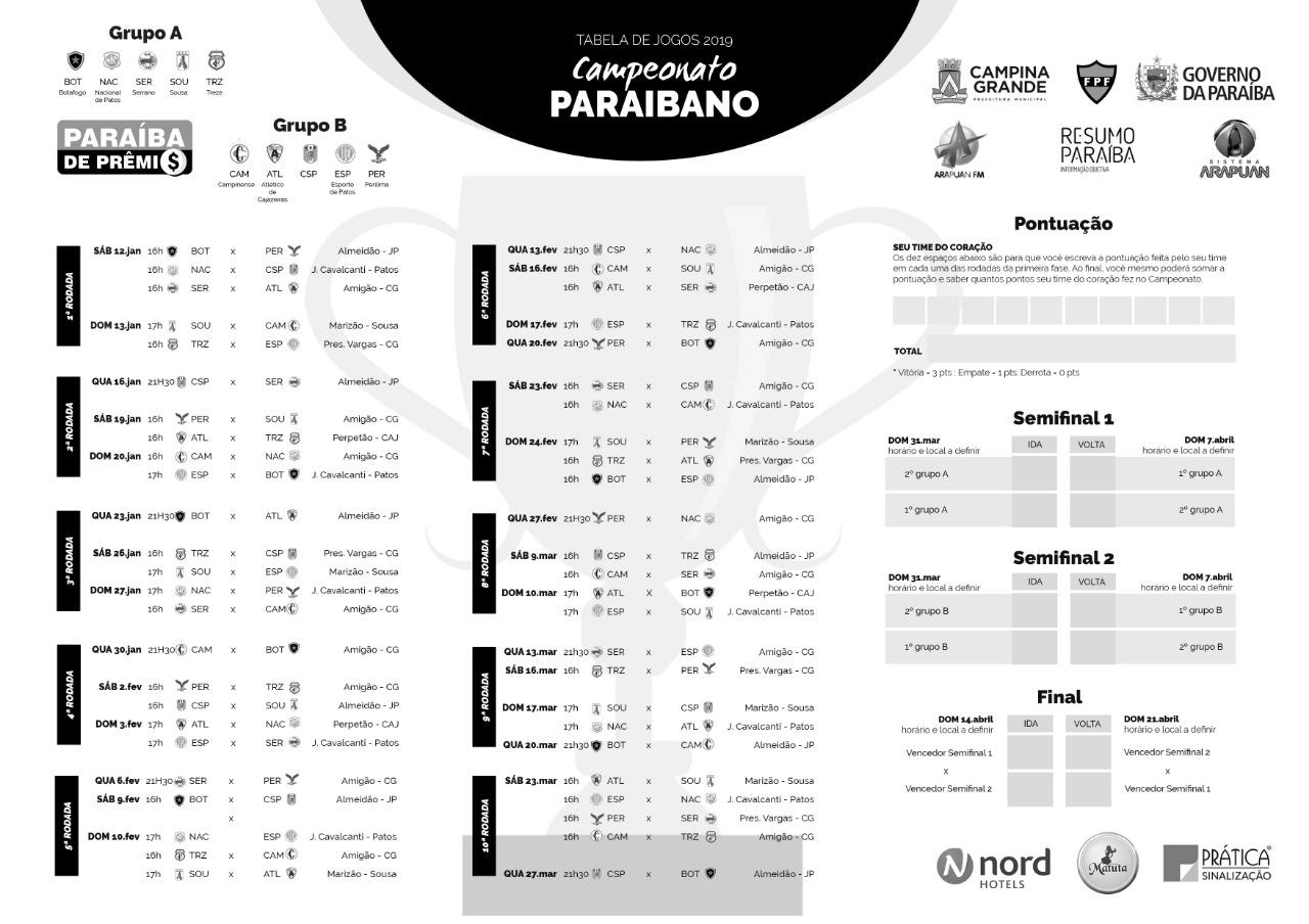 016f589f 3745 4a5a 9525 d6b3e1030010 - Dez clubes disputam o Campeonato Paraibano em 2019; veja tabela completa