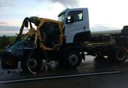 Caminhões colidem próximo a Lucena e idoso de 66 anos morre no local