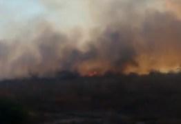 VEJA VÍDEO: moradores de Barra de São Miguel tentam apagar incêndio próximo a cidade