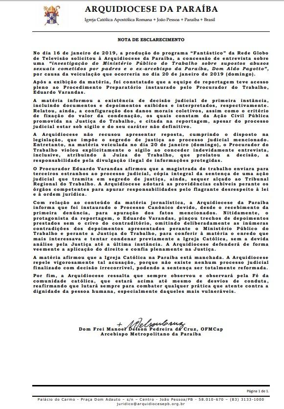 arquidiocese da Paraíba - ARQUIDIOCESE DA PARAÍBA RESPONDE A VARANDAS: 'violou explicitamente o sigilo da investigação e será responsabilizado'