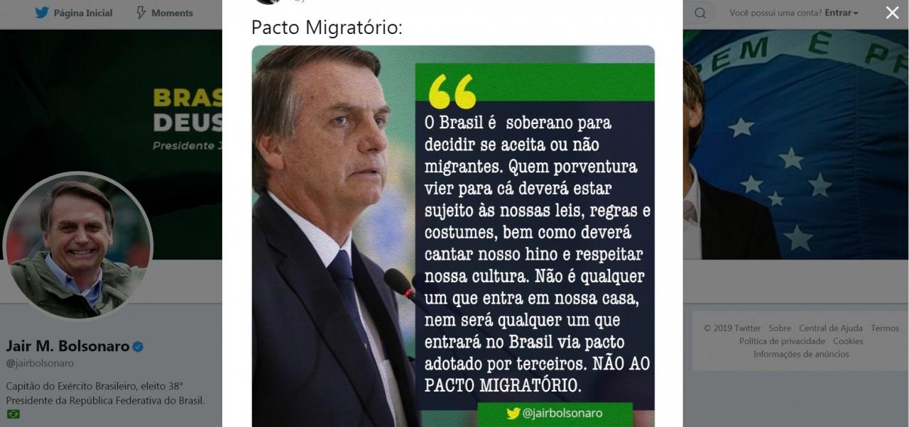 """bolsonaro - """"Não é qualquer um que entra em nossa casa"""", diz Bolsonaro sobre imigrantes"""