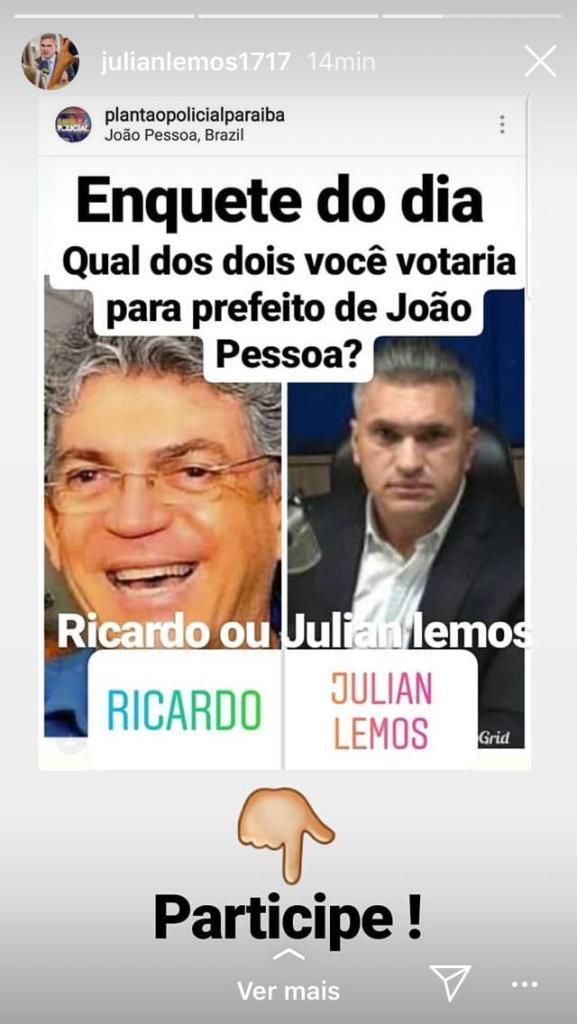enquete 577x1024 - Julian Lemos reproduz enquete com nomes dele e Ricardo Coutinho na disputa pela Prefeitura de João Pessoa
