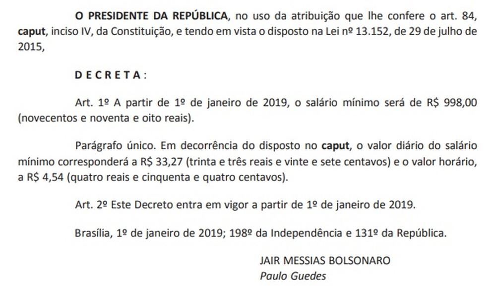 salario minimo - Bolsonaro assina decreto que fixa salário mínimo em R$ 998 em 2019