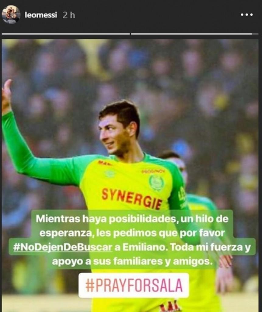 """sem titulo - Messi e Sorin fazem apelo: """"Peço por favor que não desistam de procurar o Emiliano Sala"""" - VEJA VÍDEO"""