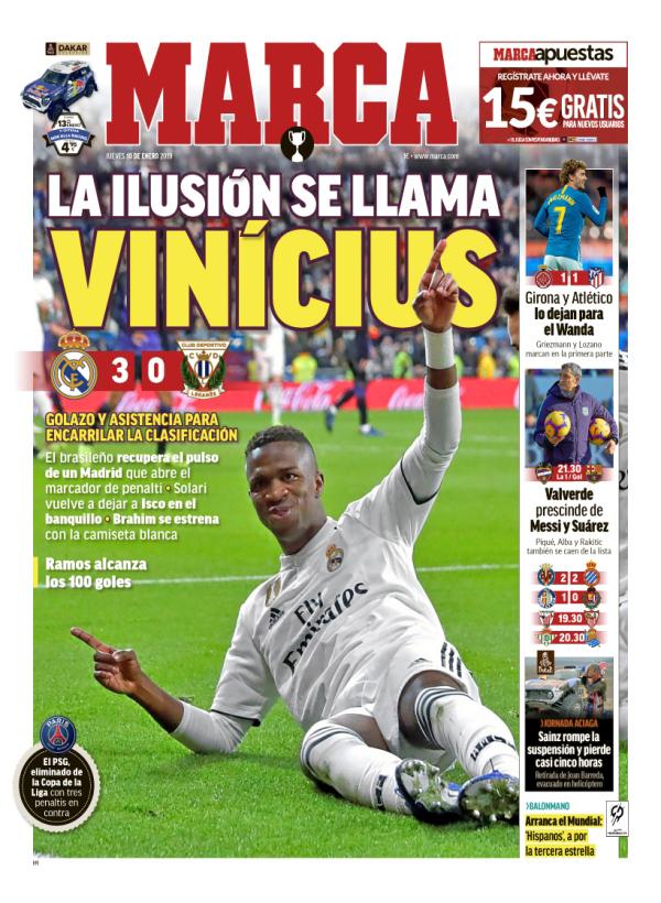 vinícius júnior esperança - Após resultado positivo imprensa espanhola aponta Vinícius Júnior como esperança para o Real Madrid em 2019
