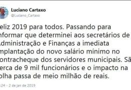 Prefeito Luciano Cartaxo determina que secretários implantem novo salário mínimo na folha da PMJP