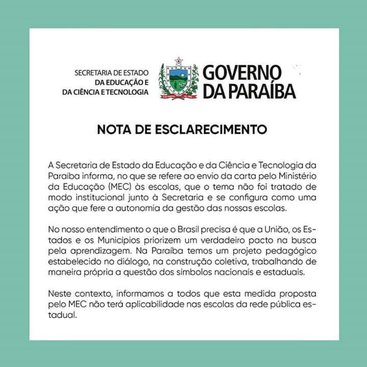 Nota de esclarecimento - 'NA PARAÍBA TEMOS ESCOLAS LIVRES': João Azevedo reage a recomendação do MEC sobre gravar alunos entoando slogan de Bolsonaro