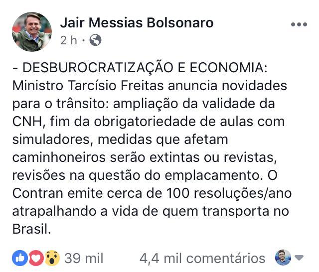 desburocratização - Bolsonaro amplia validade da CNH para 10 anos e acaba com simuladores em autoescolas
