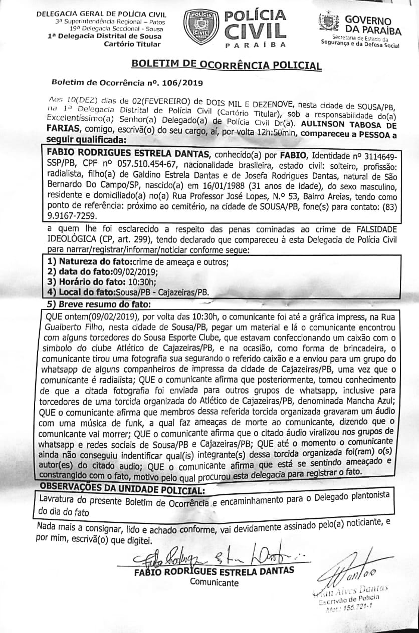 documento - Radialista paraibano recebe ameaças em forma de 'funk' após tirar foto segurando caixão com símbolo de time