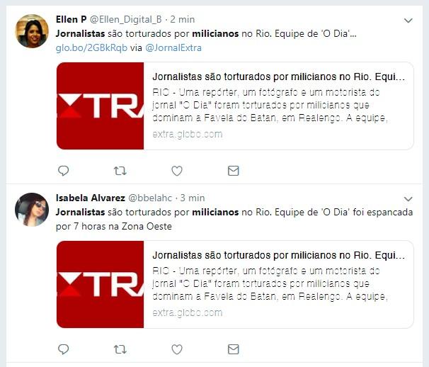 espancados - É antiga a notícia de que jornalistas foram espancados por milícias no Rio