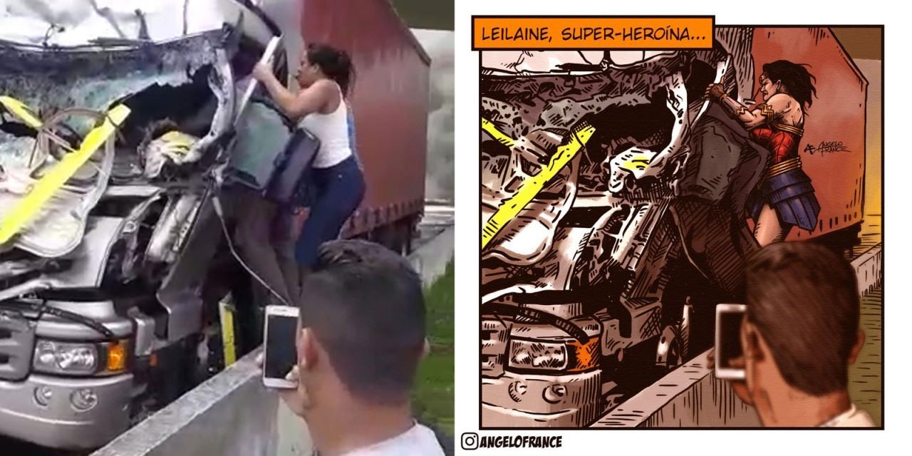 montagem final - Jovem que socorreu motorista após acidente com helicóptero luta contra doença rara: 'Não sou Mulher Maravilha'