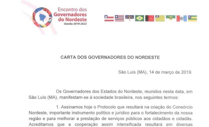 CARTA - CARTA DO NORDESTE: governadores da Região avisam Planalto que 'peso' da Reforma da Previdência 'não pode cair sobre mais pobres'; LEIA