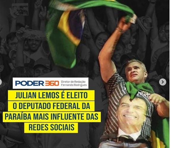 """FRUTOS - Deputado mais influente nas redes sociais, Julian Lemos comemora título: """"A melhor resposta são os frutos do trabalho"""""""