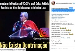 Julian Lemos posta vídeo de renomado professor de direito sendo vaiado por ovacionar Lula em Formatura; deputado lamenta doutrinação