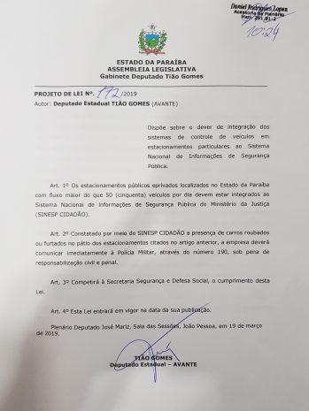 PROJETO DE TIÃO GOMES 349x465 - PROJETO DE LEI: Tião Gomes pretende cadastrar estacionamentos para evitar roubos e furtos de veículos