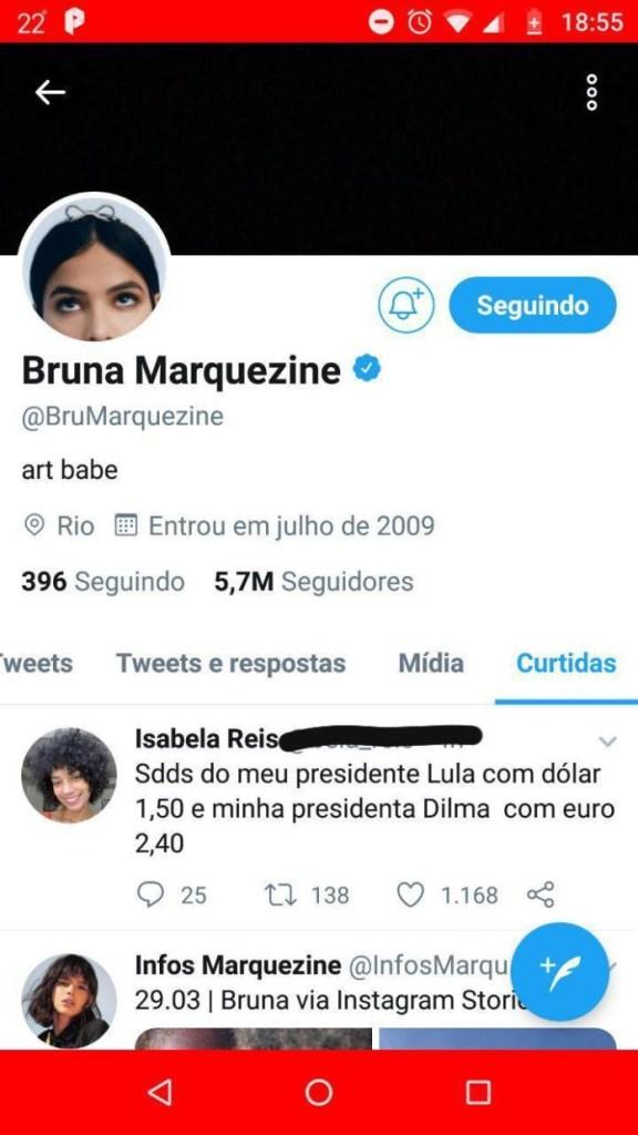 photo 2019 03 29 18 57 20 1 576x1024 - DÓLAR 1,50 E EURO 2,40: Bruna Marquezine manda indireta para Bolsonaro: 'saudades Lula'