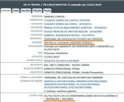 stjhcmicheletramite 300x246 - Ministro do STJ nega habeas corpus à assessora da Cruz Vermelha que trouxe dinheiro para campanha eleitoral na Paraíba