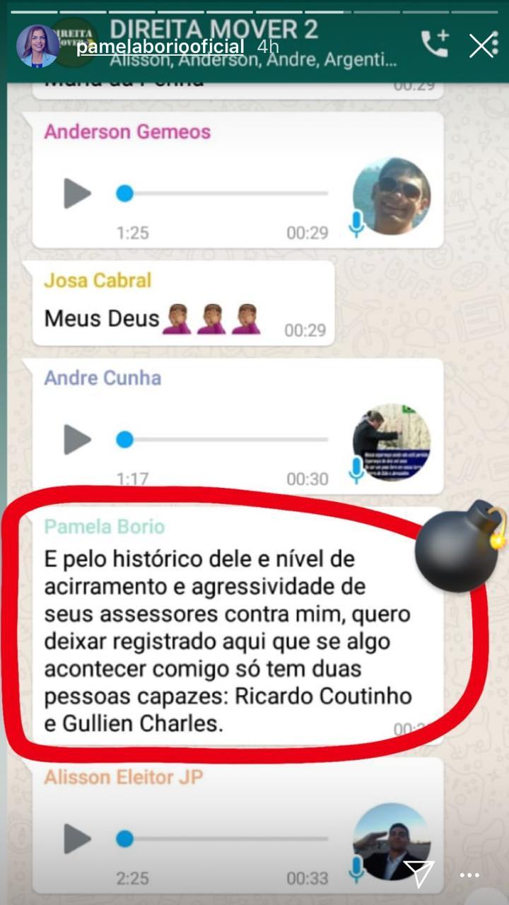 WhatsApp Image 2019 04 10 at 19.04.26 - Pâmela Bório diz temer por sua segurança depois de embate contra Julian Lemos e acusa deputado de possuir empresa no nome de laranjas