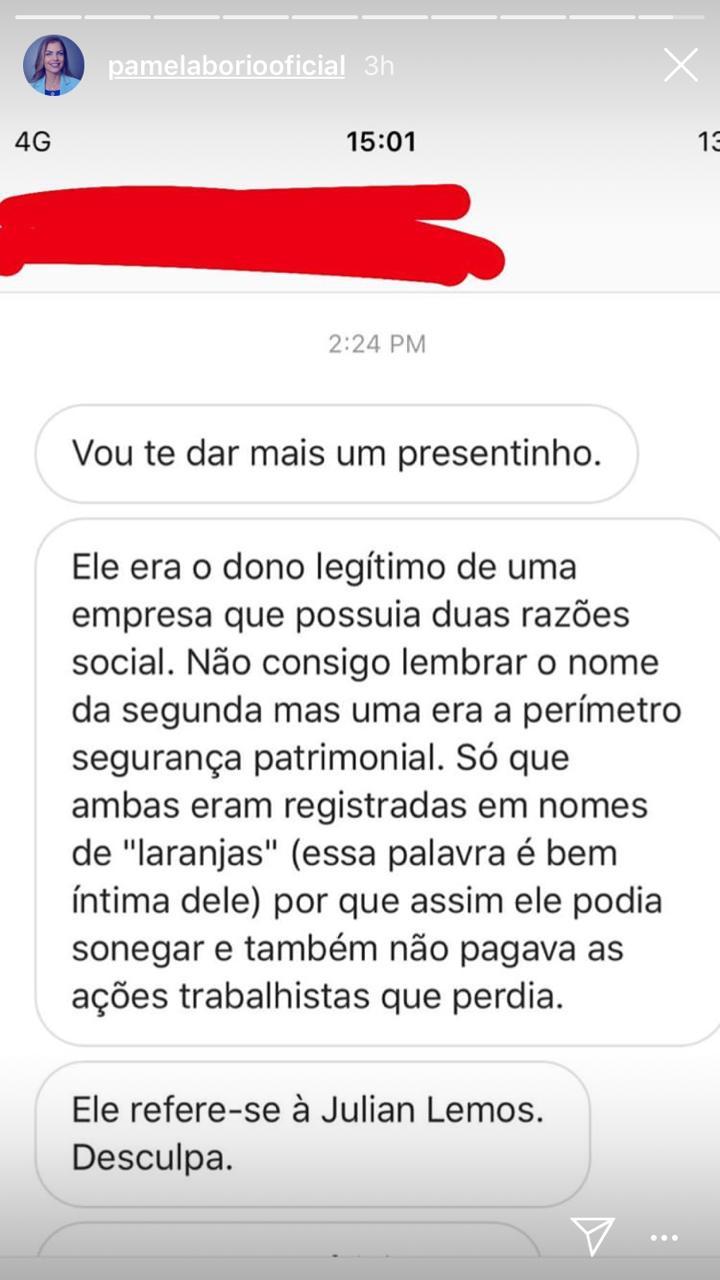 WhatsApp Image 2019 04 10 at 19.04.27 - Pâmela Bório diz temer por sua segurança depois de embate contra Julian Lemos e acusa deputado de possuir empresa no nome de laranjas