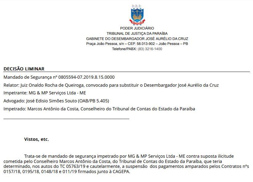 1 - EFICÁCIA RESTABELECIDA: Juiz libera pagamento da Cagepa à empresa vencedora de licitação