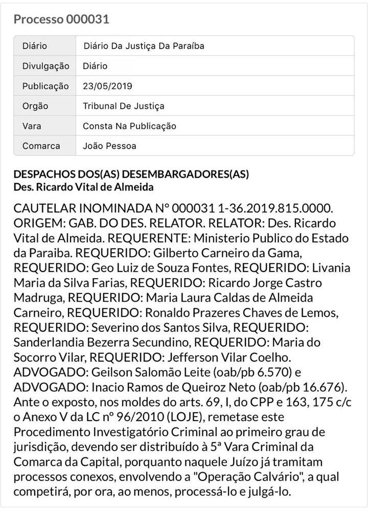 88983106 12ff 4f86 a630 69755883db49 e1558662095127 - OPERAÇÃO CALVÁRIO: Processos de Livânia e Gilberto Carneiro foram transferidos para a 5ª Vara Criminal da Capital
