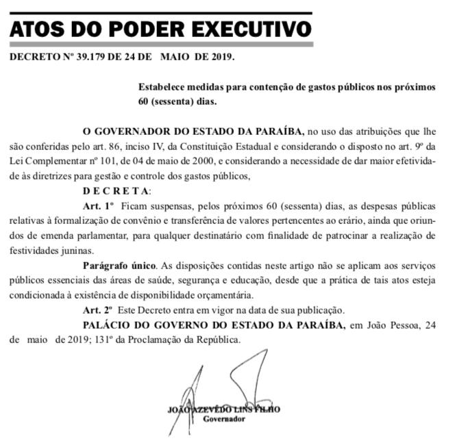 9c095404 3505 41dd bb74 5b3b3ff78c06 - DIÁRIO OFICIAL: João suspende gastos com festas juninas na Paraíba