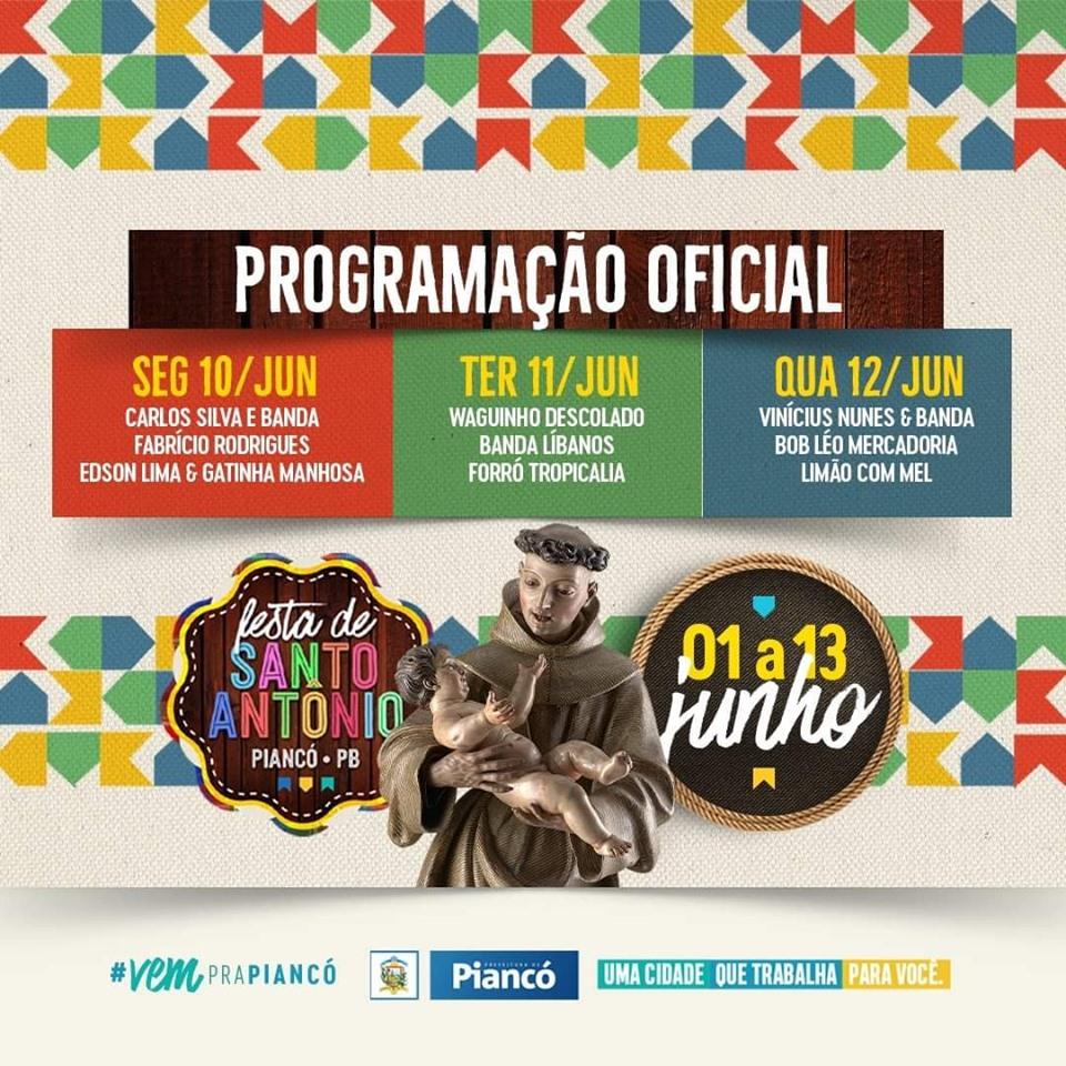 Festa de Sto Antonio 2019 atrações musicais oblogdepianco - Festa de Santo Antônio 2019: Confira a programação oficial em Piancó