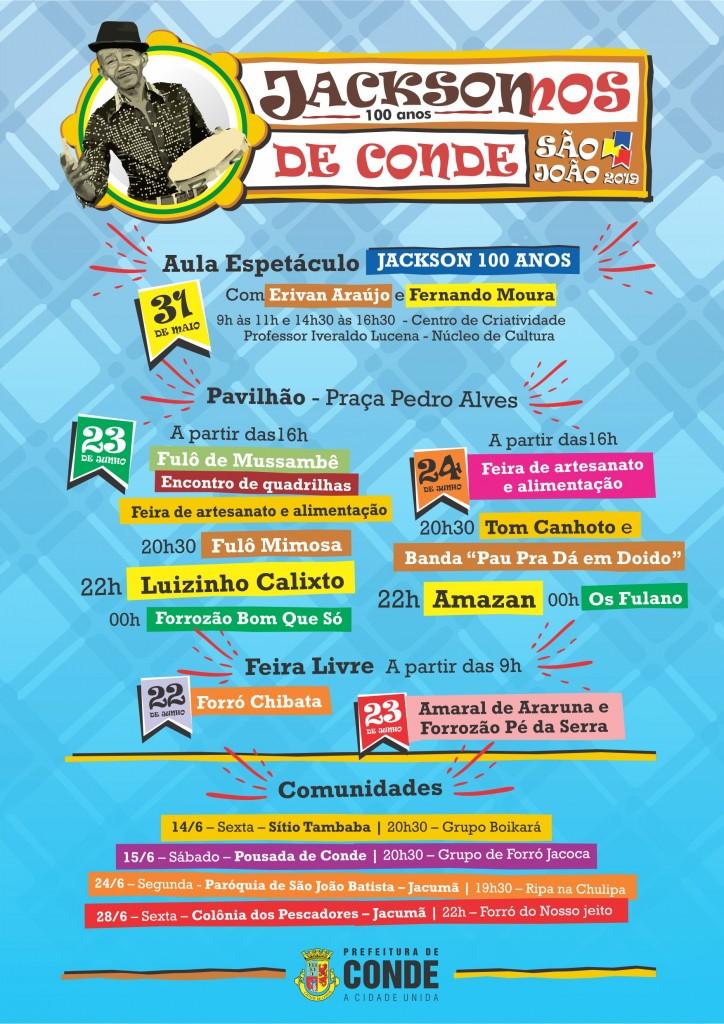 Programação São João 2019 Conde - Conde divulga programação de São João e festa homenageia centenário de Jackson do Pandeiro - VEJA AS ATRAÇÕES
