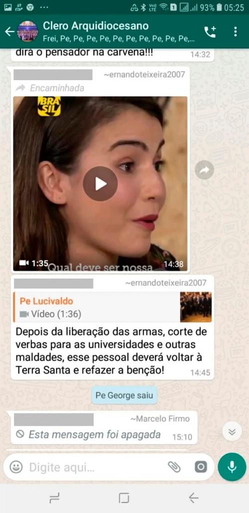 WhatsApp Image 2019 05 10 at 12.18.09 - FOGO NO WHATSAPP DO CLERO ARQUIDIOCESANO: Pe. George deixa grupo da igreja após críticas a governo Bolsonaro