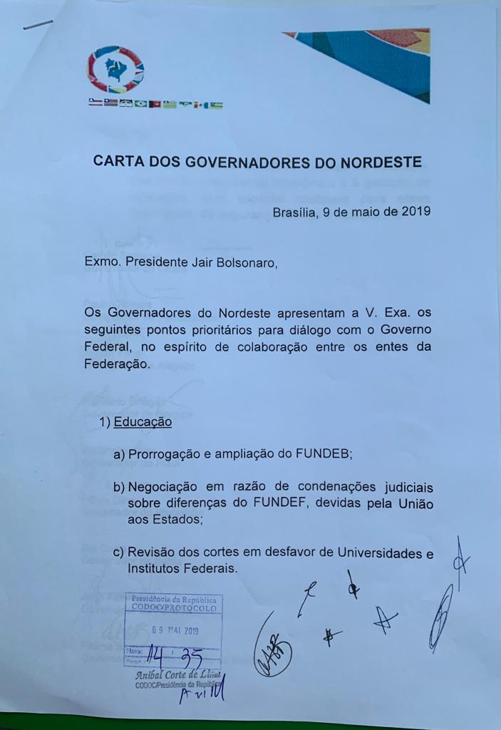 carta 1 - EM AUDIÊNCIA COM BOLSONARO E GUEDES: João Azevedo diz que não quer vender a Cagepa e pede alternativa para estados que usam água do São Francisco - OUÇA