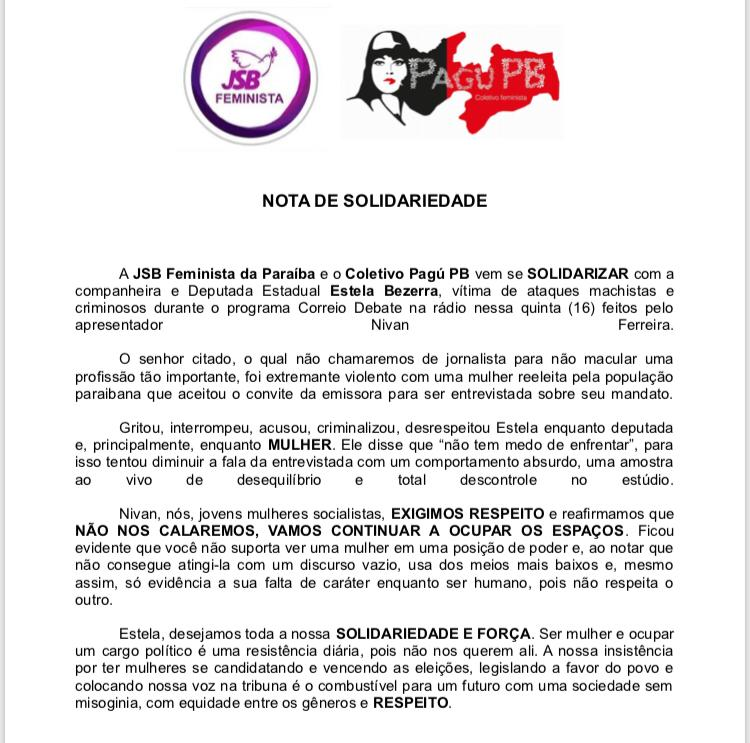 nota 1 - Duas entidades do movimento feminista emitem nota de solidariedade a Estela Bezerra