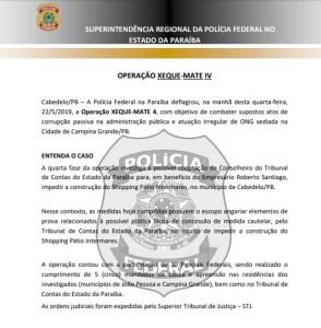 nota pf 294x300 - XEQUE MATE QUATRO: Polícia Federal cumpre mandados na casa de Fernando Catão, Tribunal de Contas da Paraíba e dirigentes da Apan